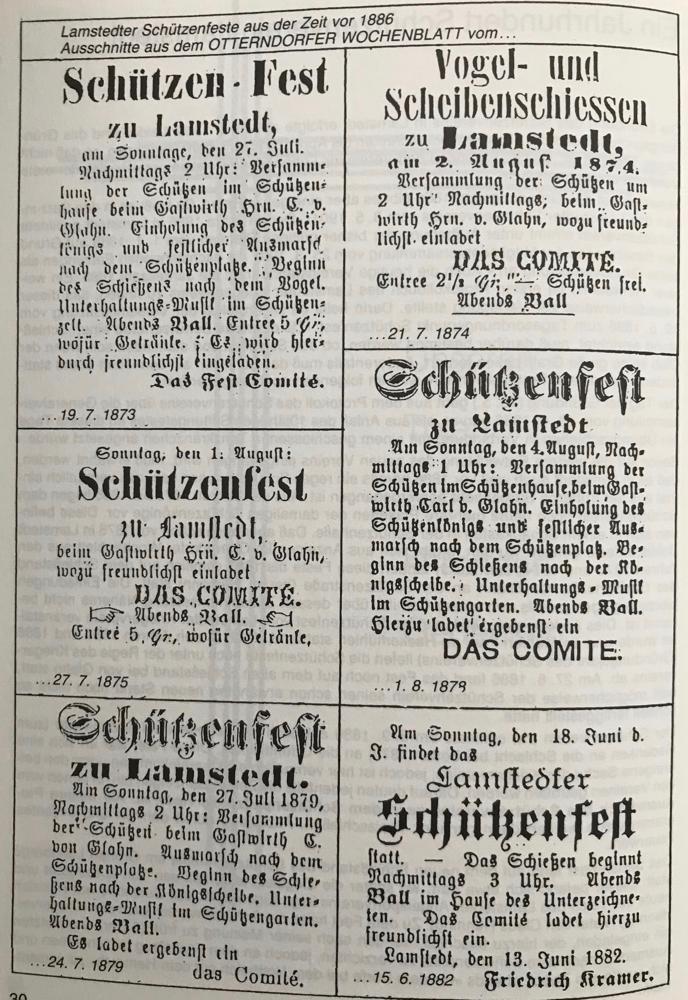 Foto: Lamstedter Schützenfeste aus der Zeit vor 1886; Ausschnitte aus dem Otterndorfer Wochenblatt vom...