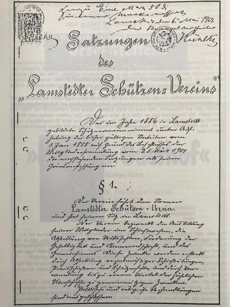 Foto: Die erste Seite der Satzung vom 3. Mai 1903, die insgesamt 26 Paragraphen enthielt.