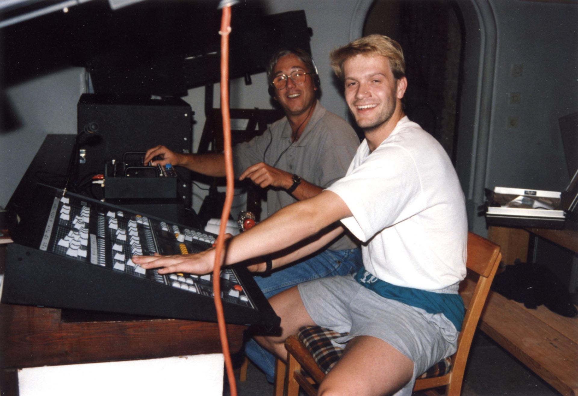 Licht- und Tontechnik: Wolfgang Schön und Helmut Müller bei Jedermann 1992