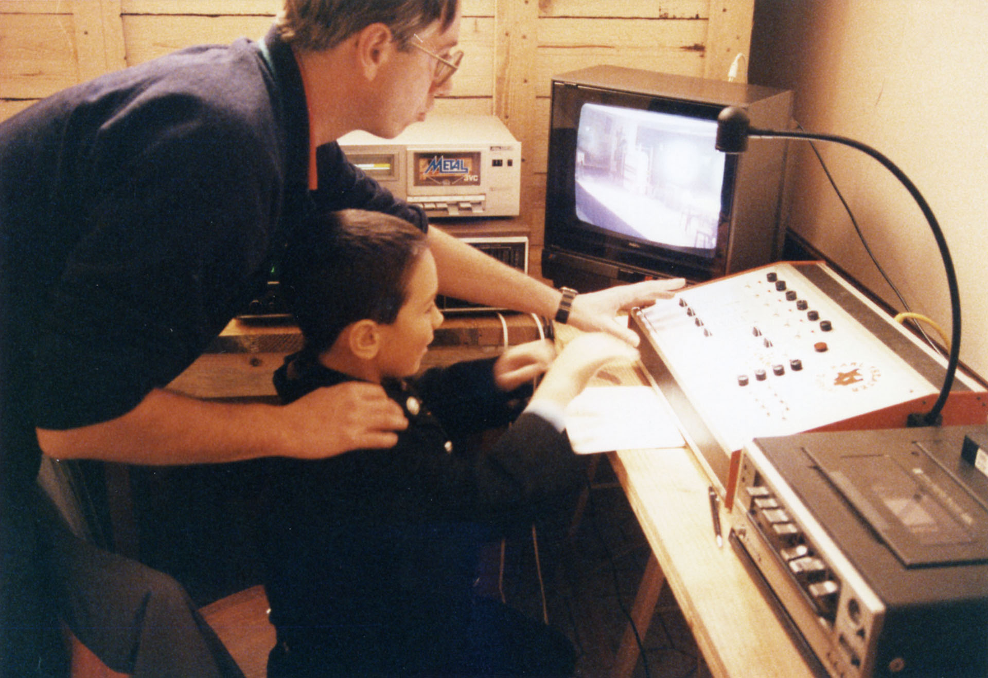 """Licht- und Tontechnik: """"Erste Einschulung des Nachwuchses"""", Wolfgang Schön und Thomas Rittler bei ERDE 1989"""