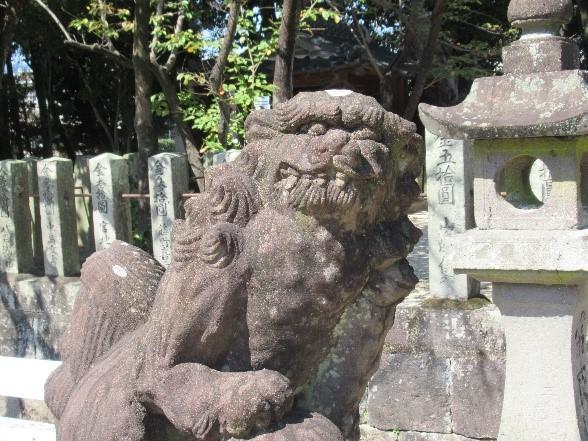 弁天社(目達原) 風格ある狛犬(玉取型)