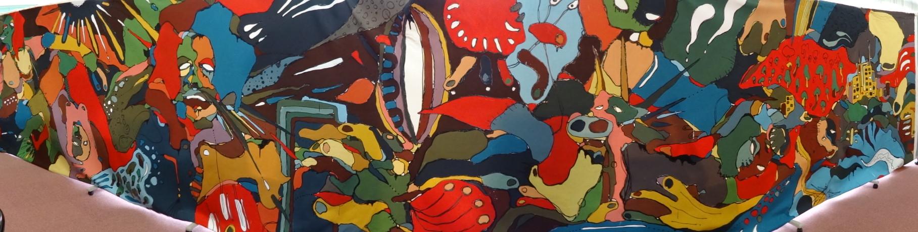 ボンドで黒く着色しアクリル絵の具と混ぜて描いてあります。