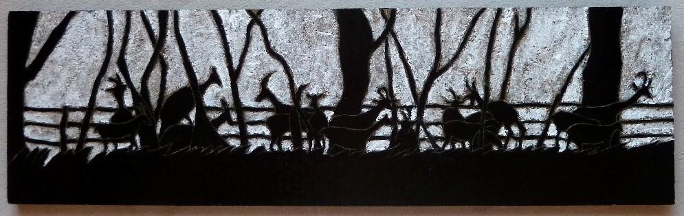 Scène du Causse (gravure sur bois) 70X30