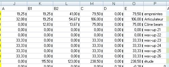 partie centrale du tableur destiné à calculer les honoraires des non-conventionnés