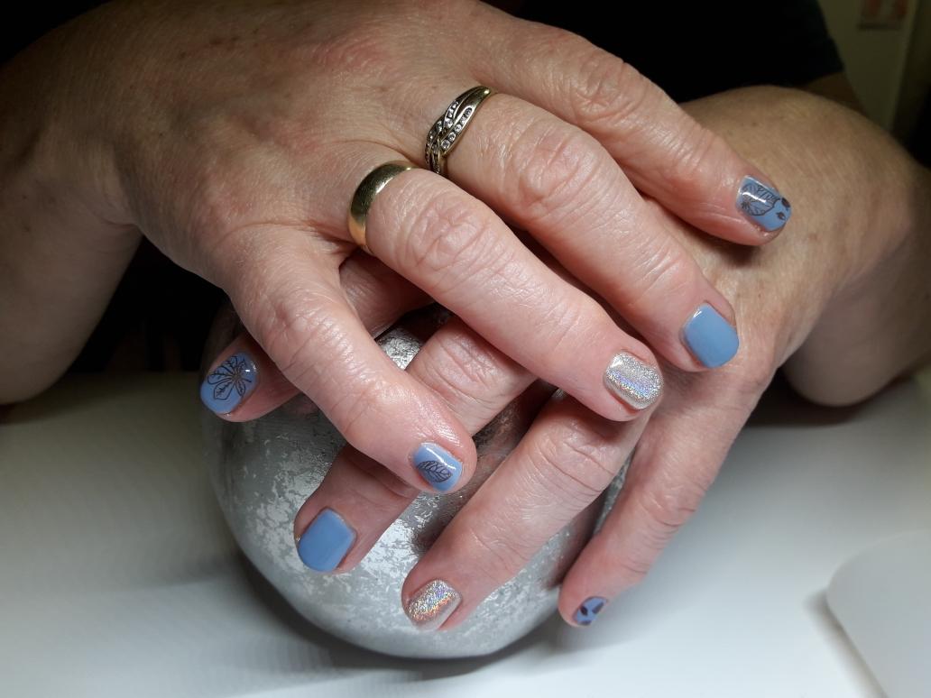 UV-Lackierung mit Stempel und Einhorn-Pigment