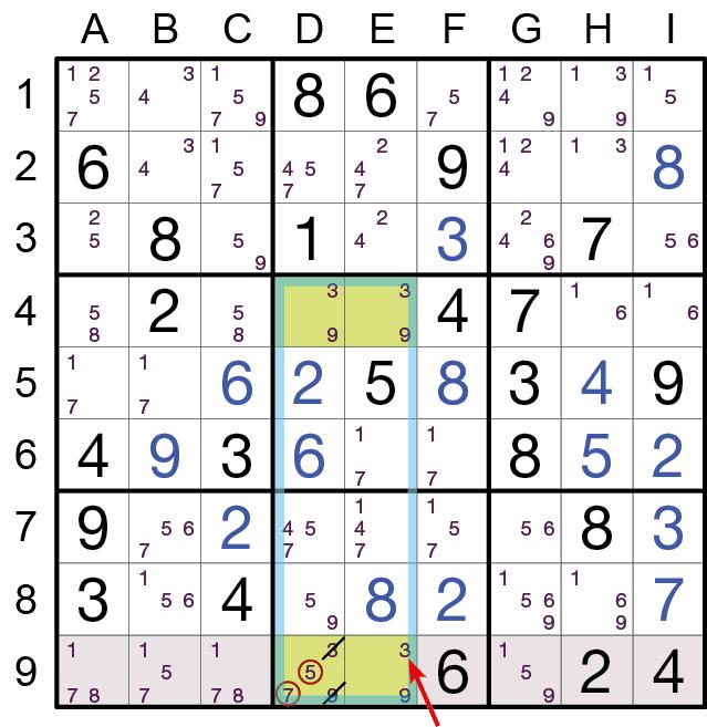 Sudoku Lösungsstrategie Verbotenes Rechteck Typ 1© Rätselbüro Martin Simon