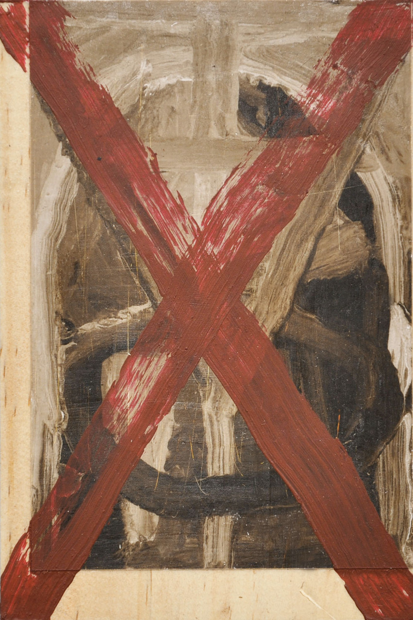 detail: acrylic on sepia photograph on wood, 16.5x11cm
