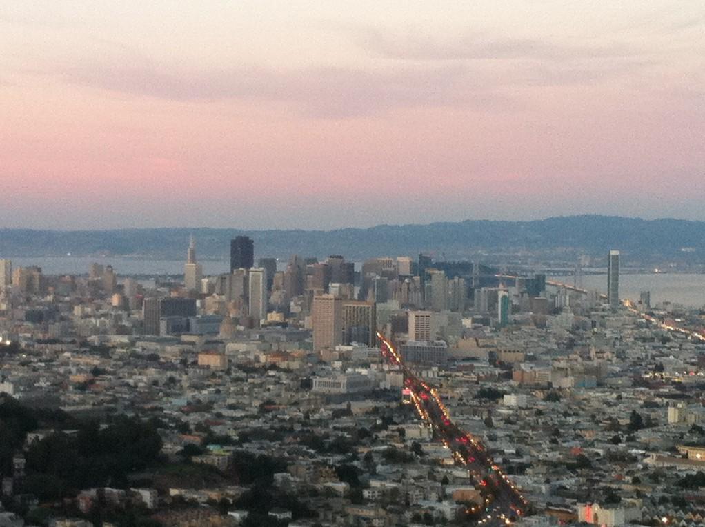 Blick von den Twin Peaks bei Sonnenuntergang