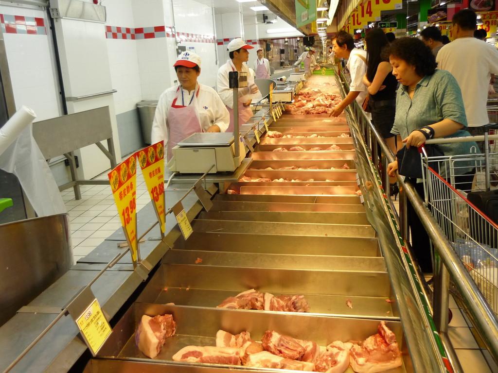 Die Fleischabteilung im Carrefour