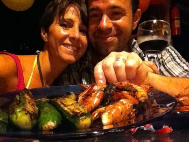 ...und Camarones al ajo mit Zucchini vom Grill