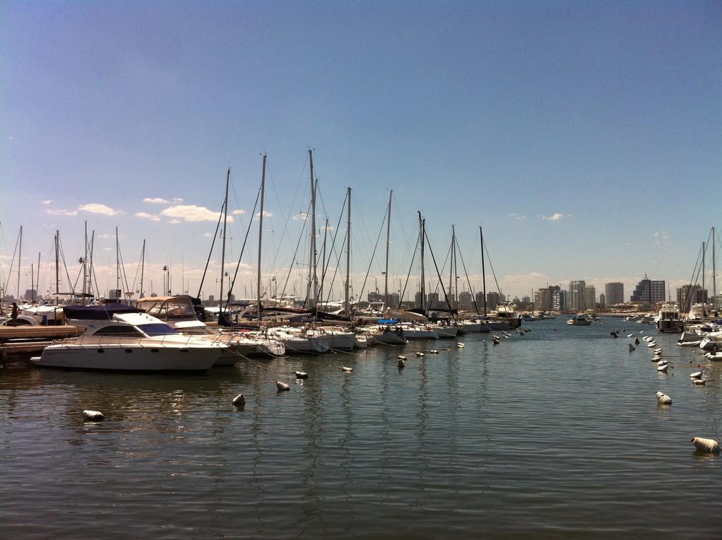 Am Hafen von Punta del Este, liegt zwischen den Yachten...