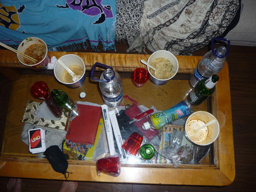 Nachtessen im Apartment: Nudelsuppen