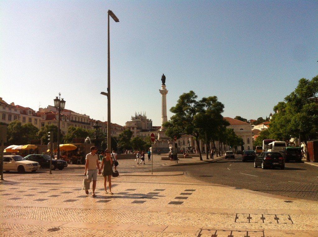 Rossio, der Platz ist ein beliebter Treffpunkt