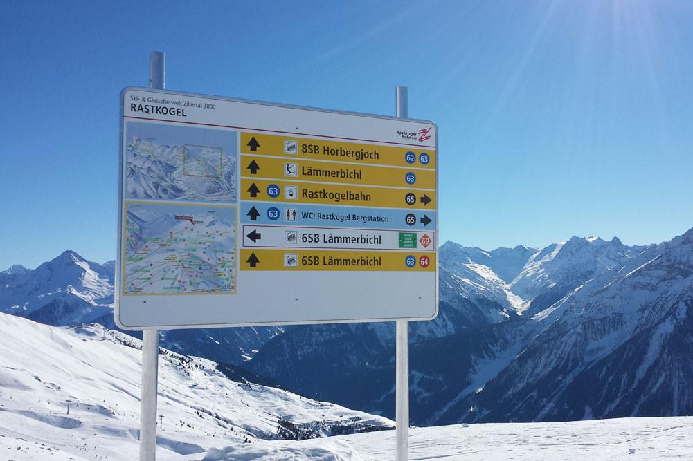 Pistenbeschilderung Ski- & Gletscherwelt Zillertal3000