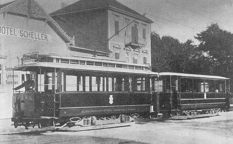 die Straßenbahn in Dornholzhausen (ca. Anfang 1900)