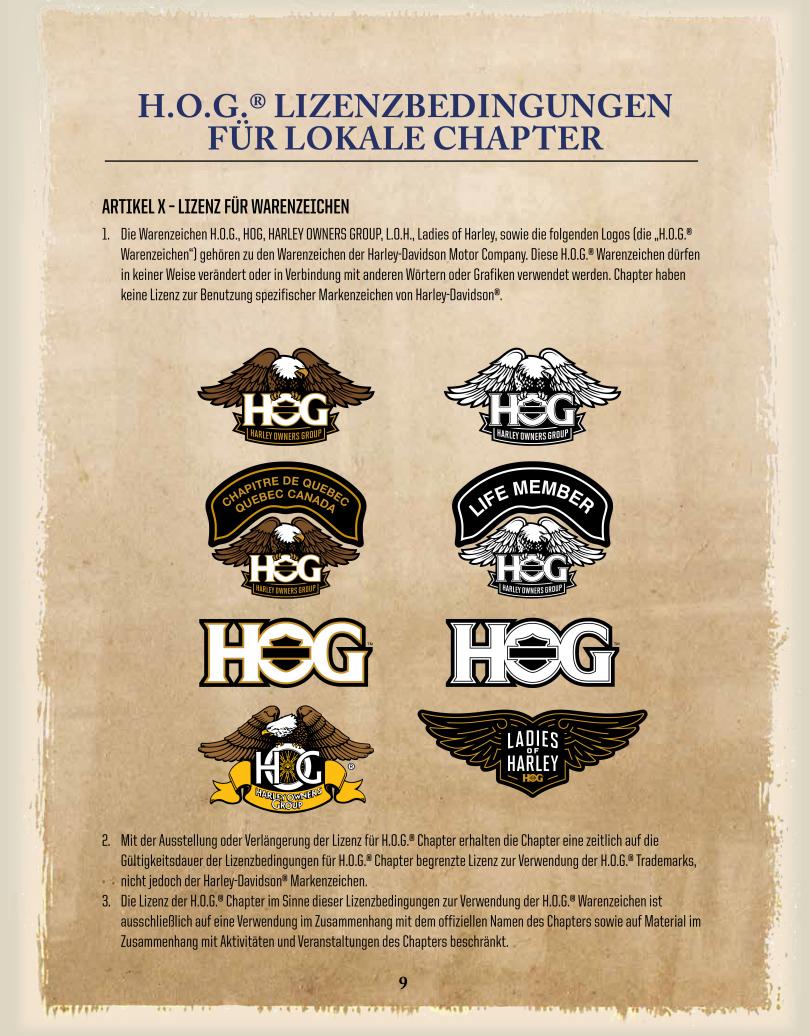 DE-Chapter-Licence / Lizenz für die Nutzung von Warenzeichen 1-3 - Harley Davidson Chapter Hamburg