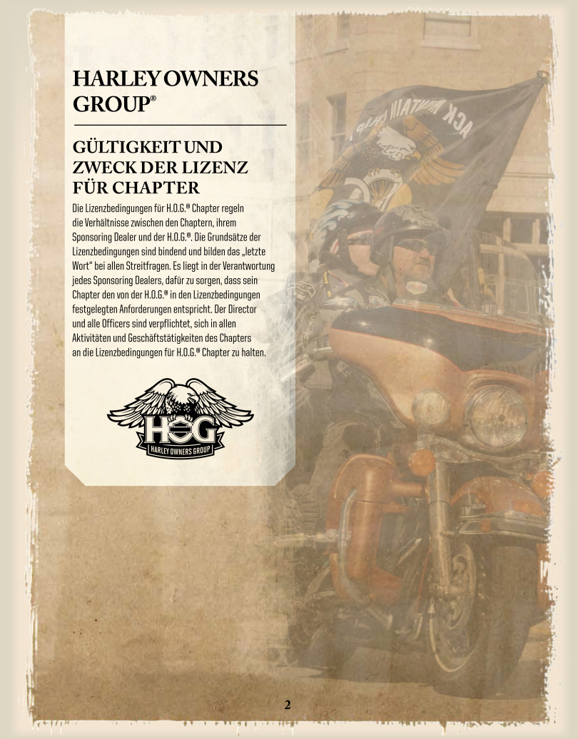 DE-Chapter-Licence / Gültigkeit und Zweck der Lizenz für Chapter - Harley Davidson Chapter Hamburg