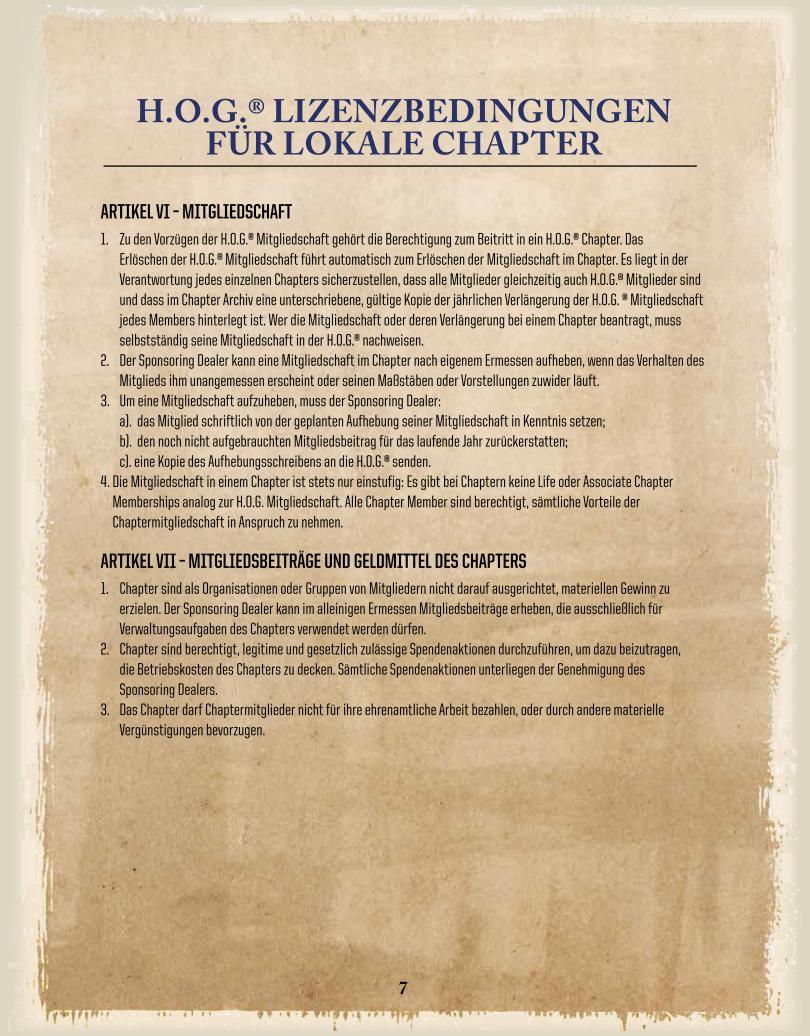 DE-Chapter-Licence / Mitgliedschaft/ Mitgliedsbeiträge und Geldmittel des Chapters - Harley Davidson Chapter Hamburg