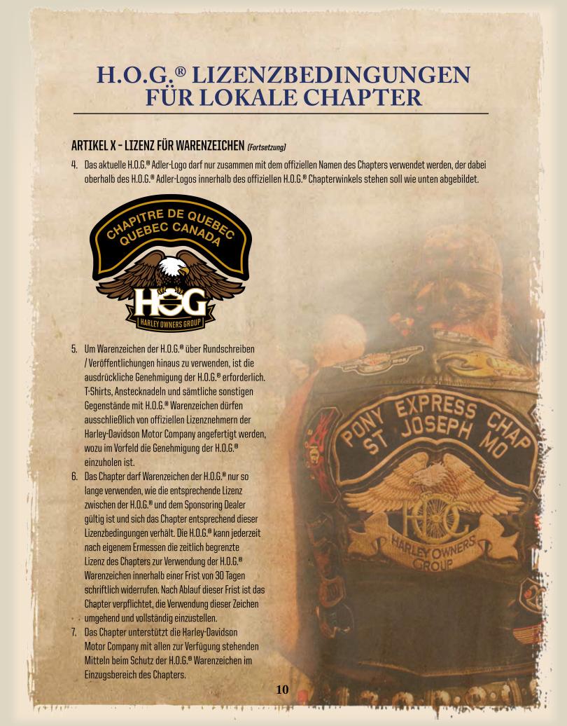 DE-Chapter-Licence / Lizenz für die Nutzung von Warenzeichen 5-7 - Harley Davidson Chapter Hamburg
