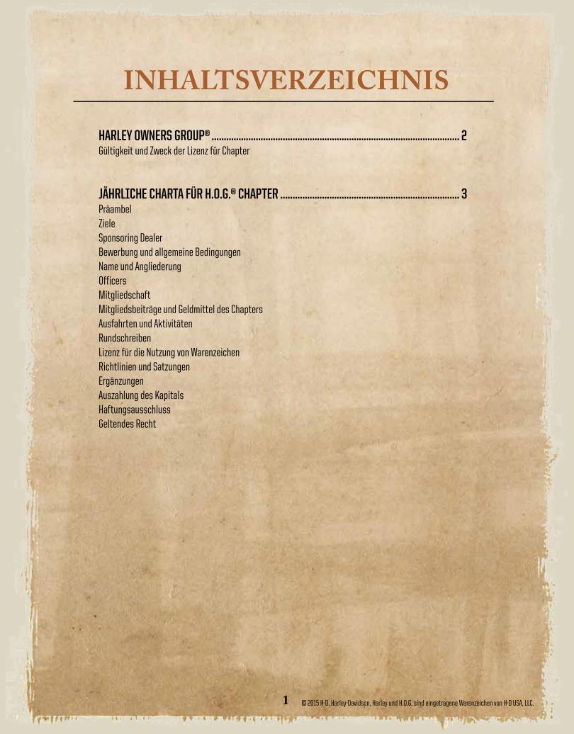 DE-Chapter-Licence / Inhaltsverzeichnis - Harley Davidson Chapter Hamburg