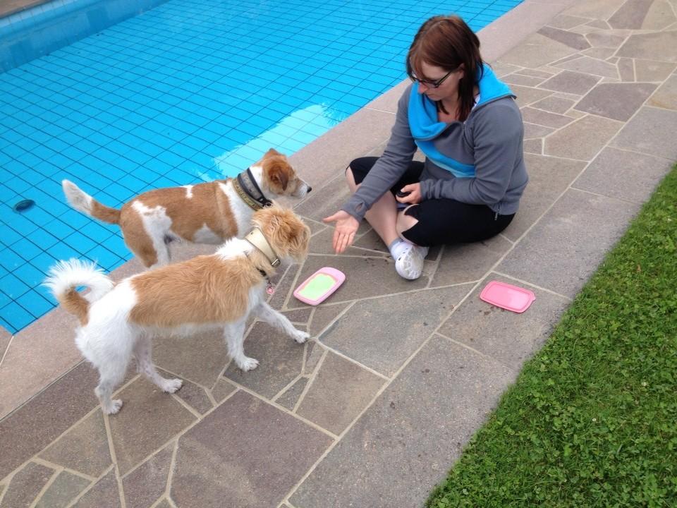 Am Pool wird auch trainiert