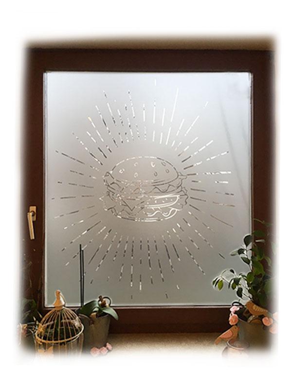 Glasetched Fensterbeklebung nach Wunsch