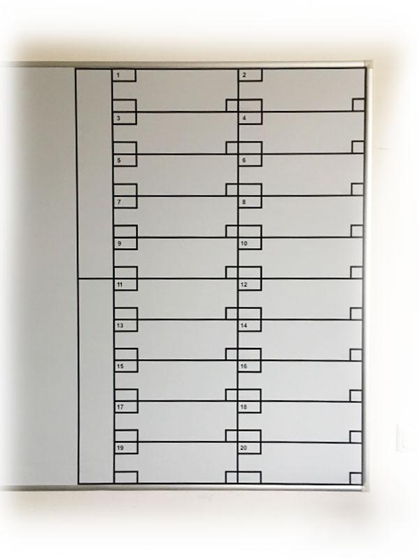 Whiteboard-Beklebung / Unterteilung, wischfest