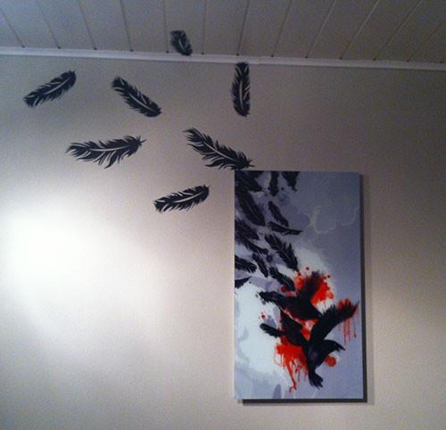 Glasdruck | Folienplott 'Federn' | matt schwarz