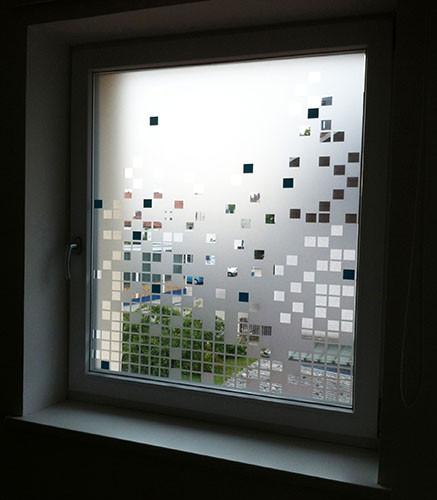 Folienplott | Glasdekor-Folie + türkis-fabene, quadratische Einsätze