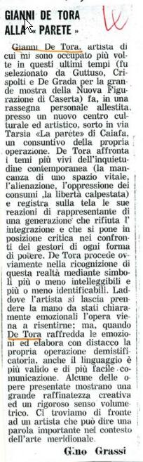 C)Articolo di Gino grassi apparso sul Roma del 18/11/1971 per mostra personale alla galleria La Parete Napoli 1971