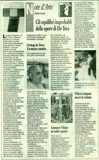 A) Articolo Ela Caroli apparso sul corriere del Mezzogiorno del 11/03/1999 per mostra personale alla galleria Avida Dollars di Milano 1999