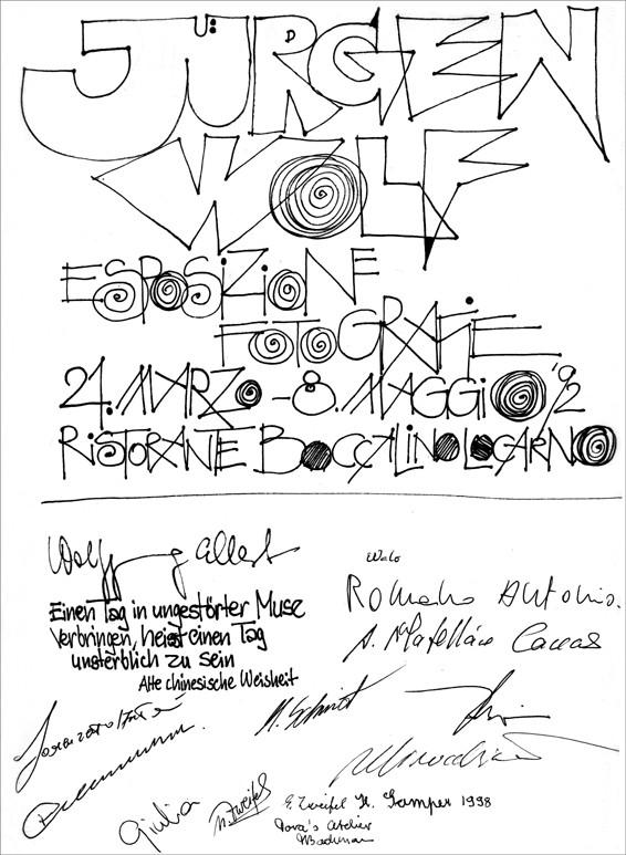 Gästebucheintrag - Vernissage im Ristorante BOCCALINO, Locarno, am 21.03.1992