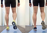 Ganganalysen auf der Gehstrecke, Gangbahn, hier im Vergleich 2 verschiedene Schuhe
