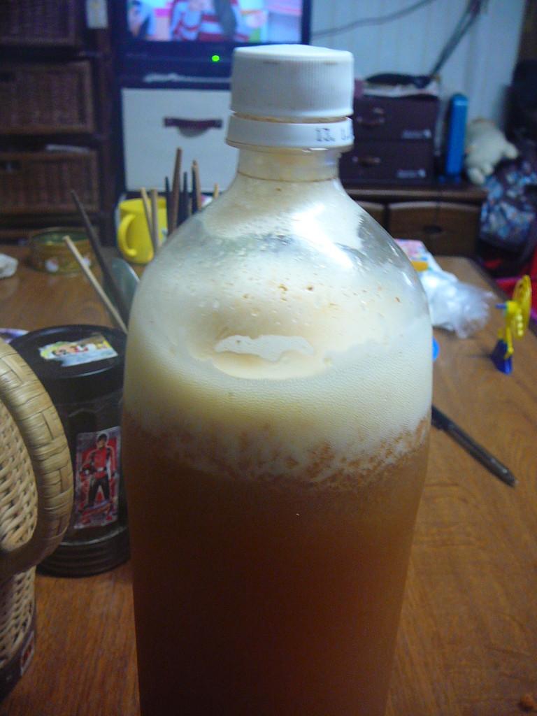 自然発酵りんごサイダー。皮ごとジューサーにかけて密閉しておくだけで本当に美味しいサイダーが出来ます。