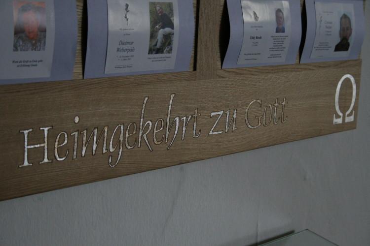 Tauf- & Sterbetafeln in Eiche massiv, Schrift mit Blattsilber belegt