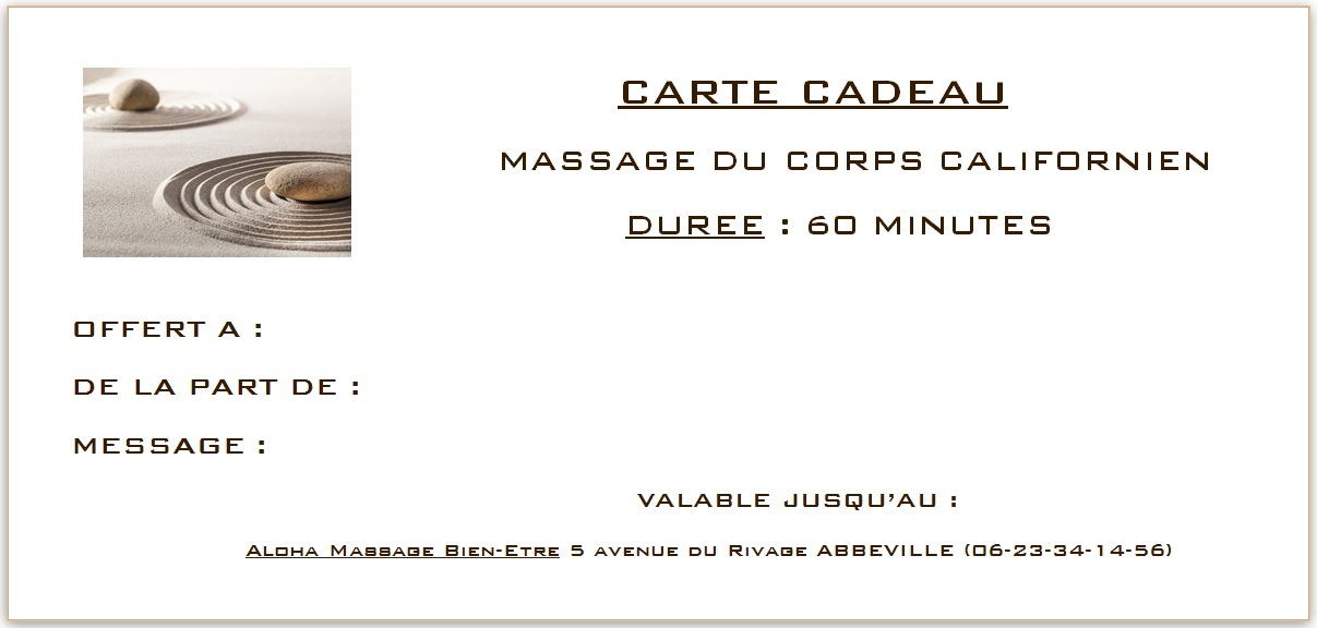aloha massage abbeville vous propose des cartes cadeaux massages aloha massage centre de. Black Bedroom Furniture Sets. Home Design Ideas
