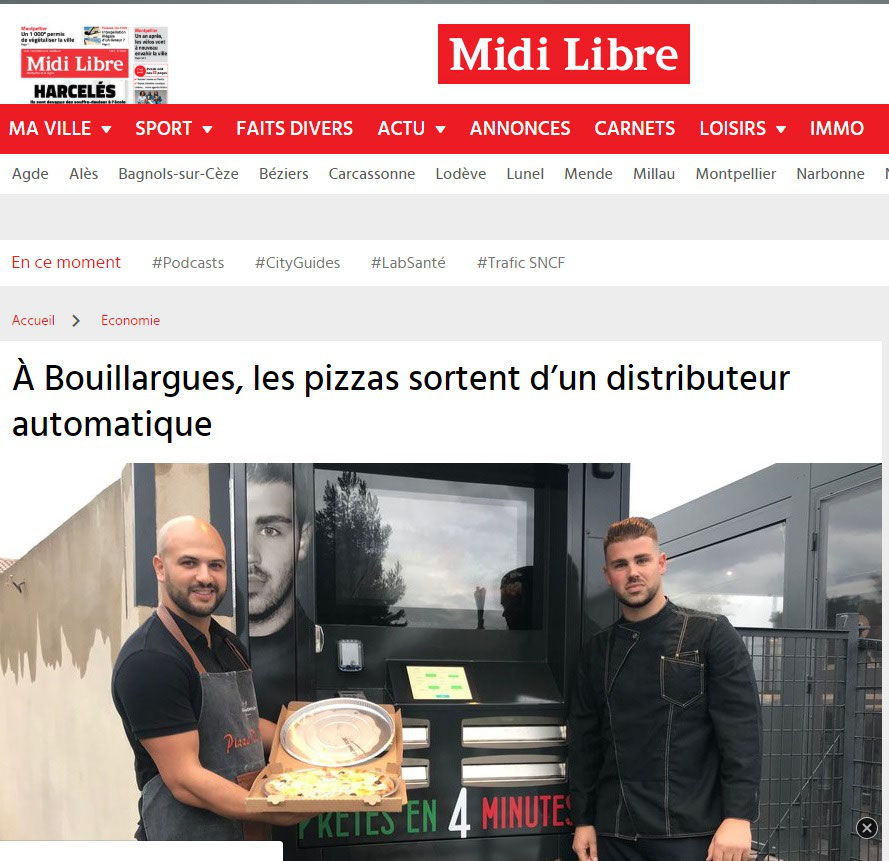 Anthony Roux a mis en place un distributeur automatique à côté de son établissement Pizza di Roma.