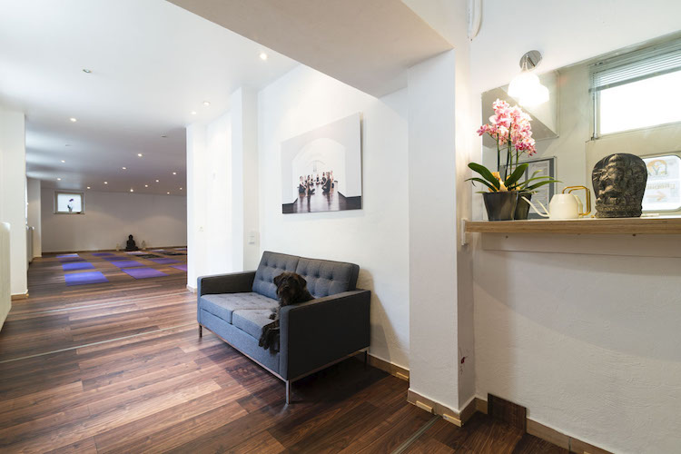 Yoga Studio mit Sofa und Hund