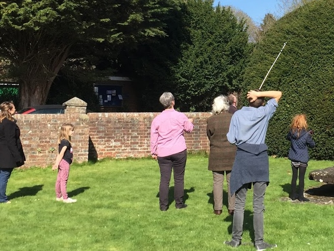 Trying to retrieve the shoe from the top of the hedge!