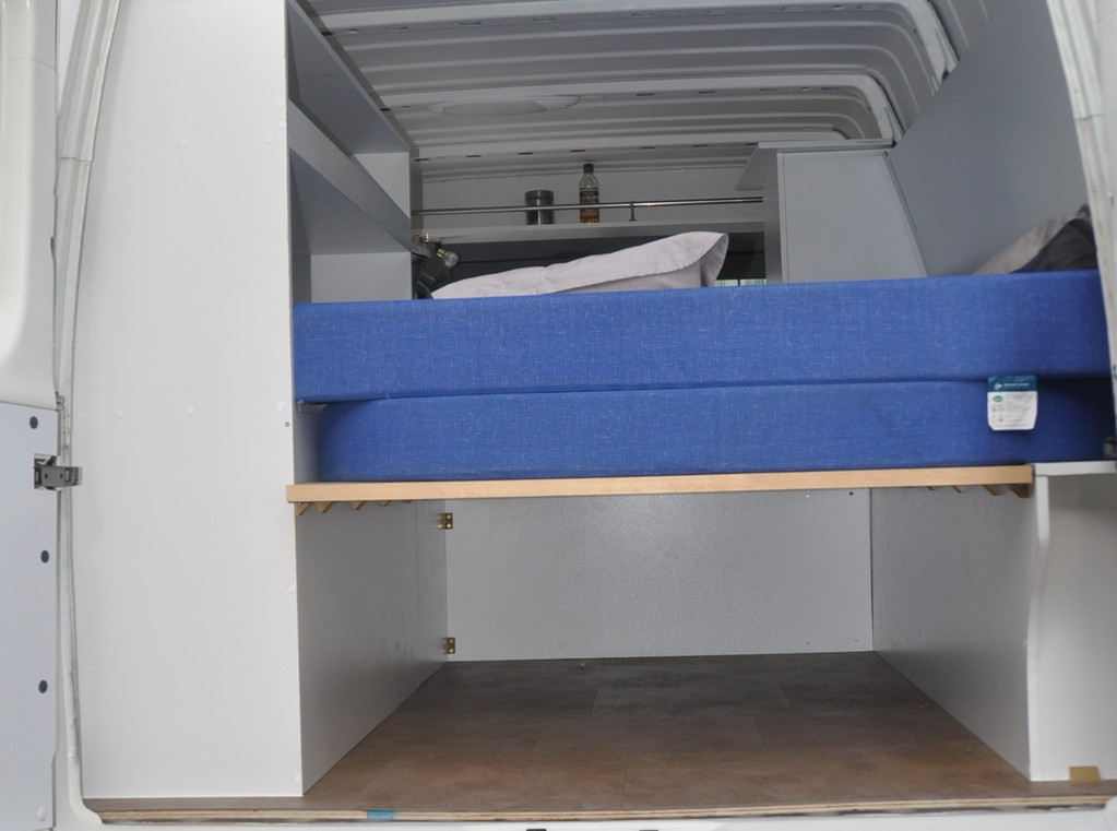 the bed has good ventilation as it rests on slats, storage underneath even big enough for a surf board
