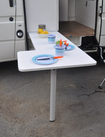 attachable outside table with collapsable leg, easy to store away