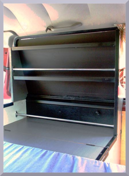 side shelf next to bed in Nissan Nomad, can be also realized in any small or medium van