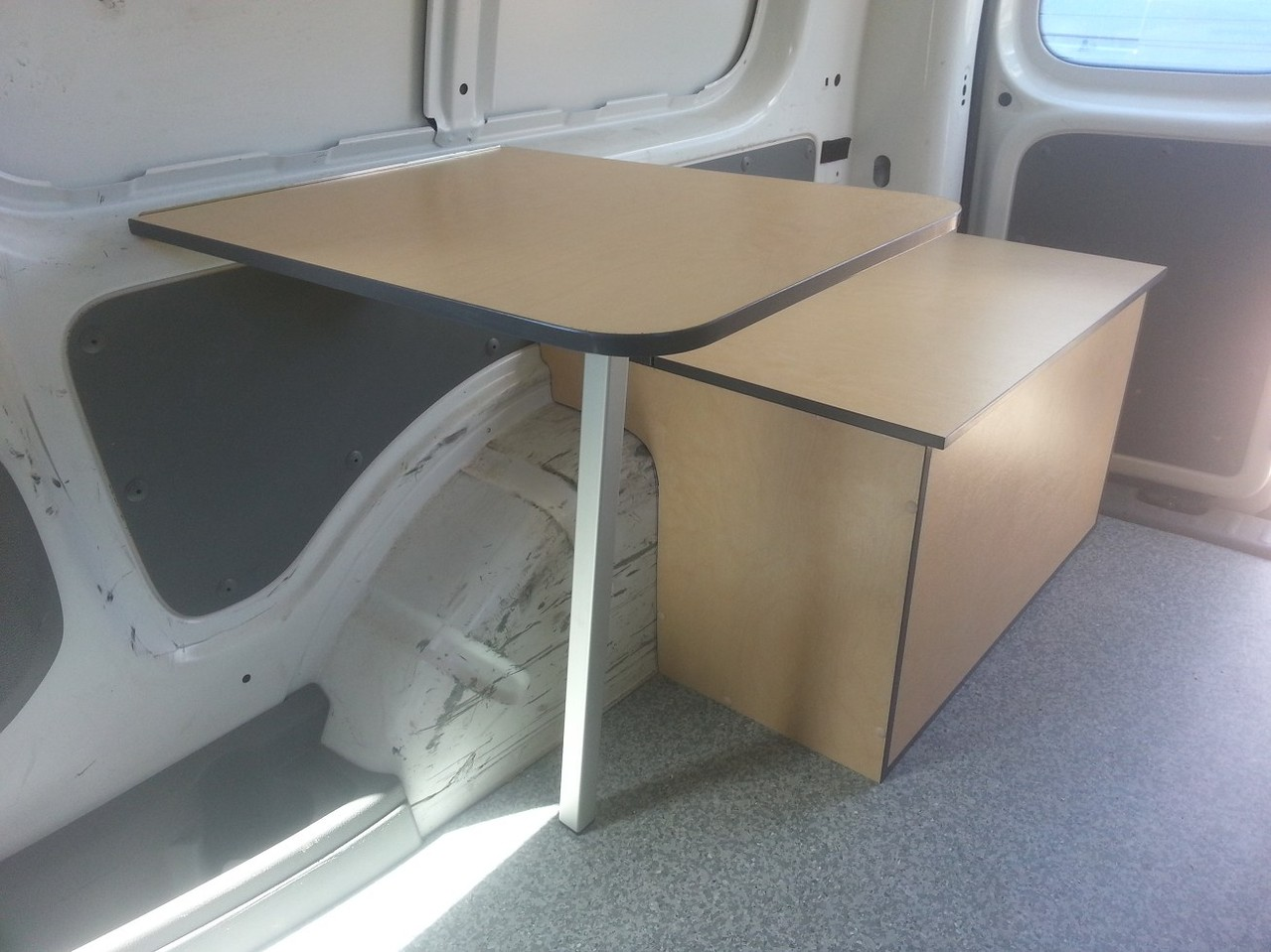 removable seating box with fold down table