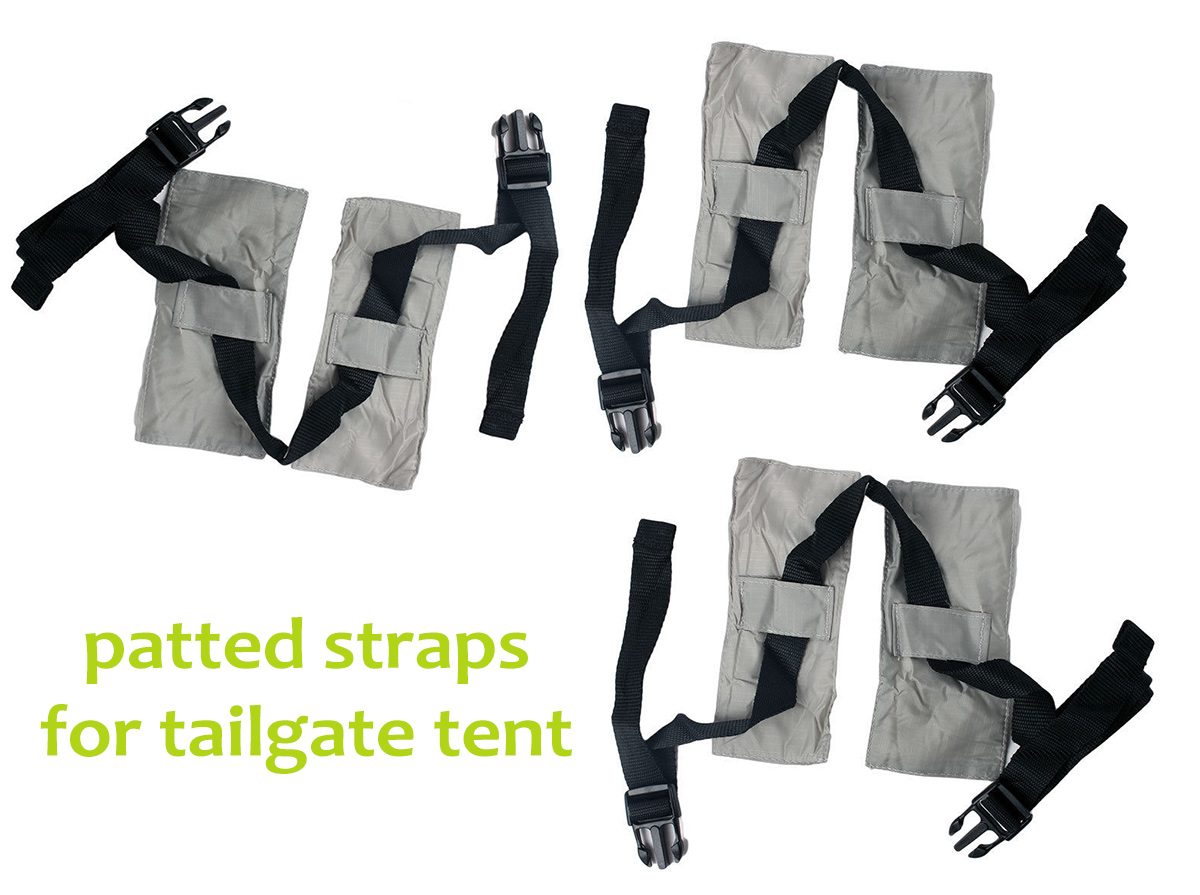 padded straps who go over the tailgate