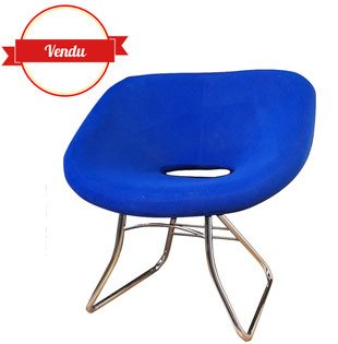 fauteui,siége,chaise,bleu,électrique,cobalt,moderne,vintage,design,chromé,coque,mousse,brocante,moderne