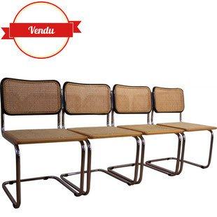 chaise,chaises,cesca,marcel,breuer,b32,noir,chromé,bois,canné,cannage,1960,1970,originales,b32,vintage,salle a manger