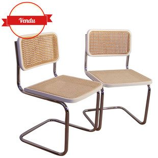 chaise,paire,marcel,breuer,b32,vintage,blanche,made in italy,chrome,chromée,cannée,cannage,cantilever