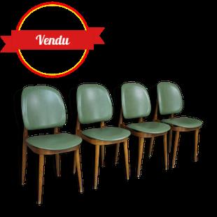 Suite de 4 superbes chaises design Pierre Guariche, vintage, iconique, bois courbé, simili cuir, vert, meurop, 1960, 1970