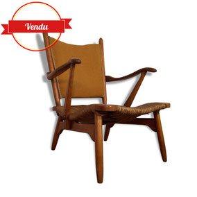 fauteuil, fauteuil scandinave,1950,1960,tressé,cocktail,pieds fuseau