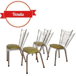 Chaises chromées, des, années, 1960, vintage,cuisine,1970,1980,kaki, rockabilly
